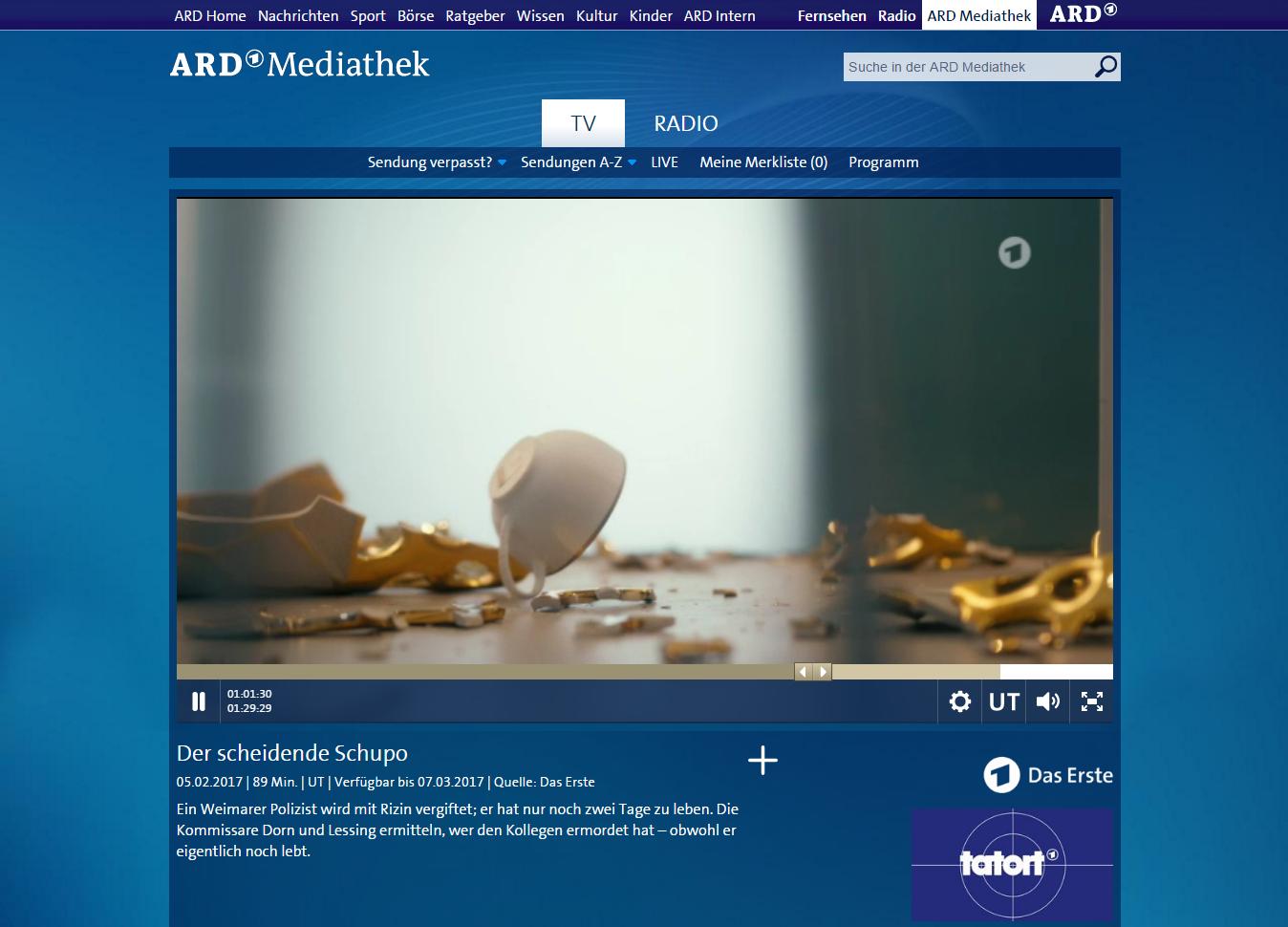Tatort - Der scheidende Schupo EA 5.2.2017 Screenshot ARD Mediathek